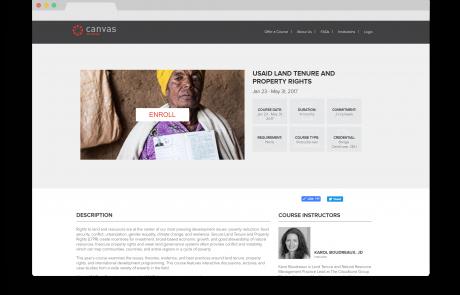 Enrollment screen for USAID's MOOC